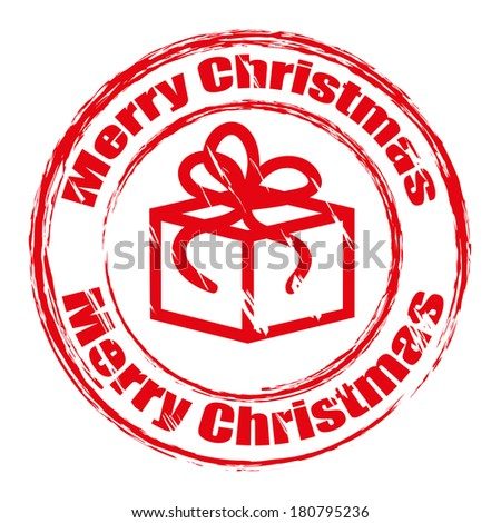 Red grunge Christmas stamp with gift box. Raster version  - stock photo