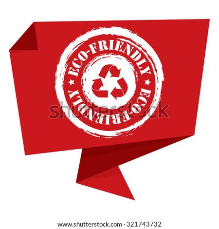 Red Grunge Eco-Friendly Paper Origami Speech Bubble or Speech Balloon Infographics Sticker, Label, Sign or Icon Isolated on White Background - stock photo