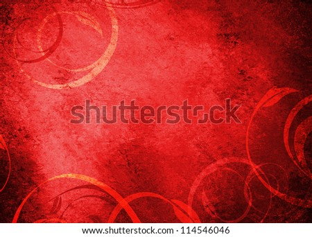 Red Grunge Floral Background With Copy Space