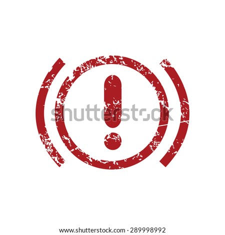 Red grunge icon with image of alert sign, isolated on white - stock photo