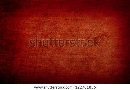 Red grunge linen texture - stock photo