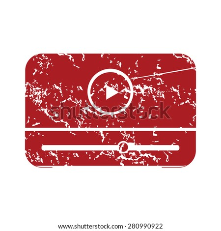 Red grunge media player logo on a white background - stock photo