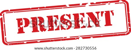 """Red grunge rubber stamps with text """"PRESENT"""" - stock photo"""