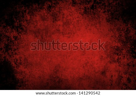 Red grunge textured wall closeup - stock photo