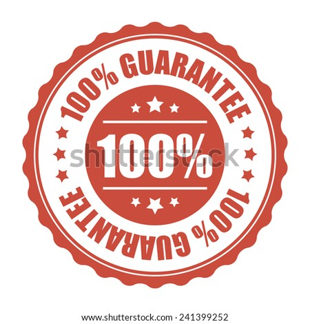 Red 100% guarantee icon, tag, label, badge, sign, sticker isolated on white  - stock photo