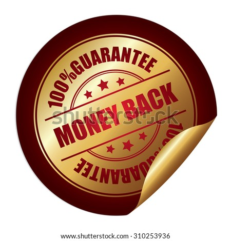 Red 100% Guarantee Money Back Infographics Peeling Sticker, Label, Icon, Sign or Badge Isolated on White Background - stock photo