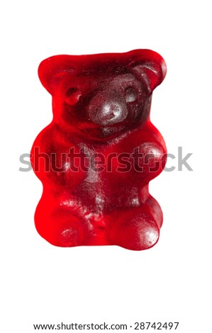 Red gummy bear isolated on white
