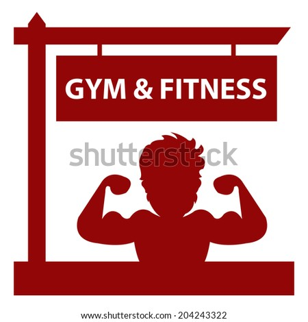 Red Gym and Fitness Road Sign With Bodybuilder or Muscle Man Sign or Icon Isolated on White Background  - stock photo