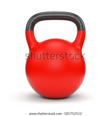 Red gym weight kettle bell isolated on white background - stock photo