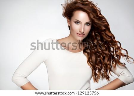 Terrific Red Hair Beautiful Woman Curly Long Stock Photo 120690061 Short Hairstyles Gunalazisus