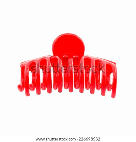 red hair clip isolated on white background - stock photo