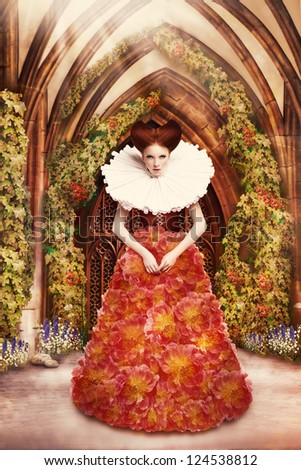 Red Hair Duchess in red Dress and Jabot in Ancient Abbey - stock photo