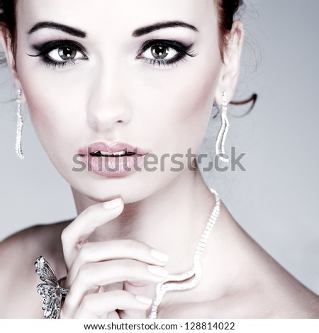 Red hair. Fashion girl portrait.Accessorys. - stock photo