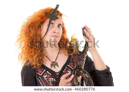 Red hair girl with several pet animals isolated in white