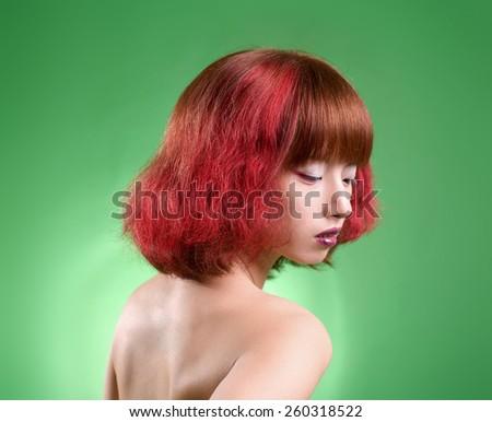 red hair woman fashion salon - stock photo