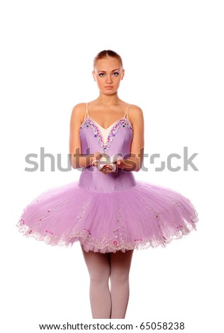 red-haired ballet dancer keep lily - stock photo