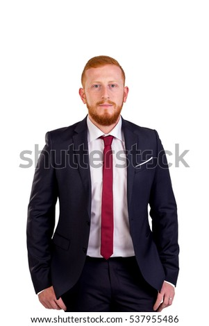 Red-haired executive with suit