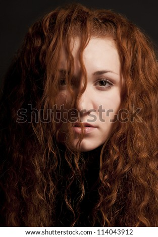 Red Haired Girl Portrait over