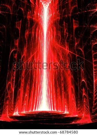Red Hall - Fractal Illustration - stock photo