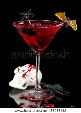 Red Halloween cocktail - stock photo