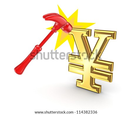 Red hammer and yen symbol.Isolated on white background.3d rendered. - stock photo