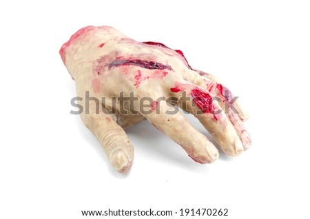 Red hand amputated, halloween decoration detail, realism and fear, violence - stock photo