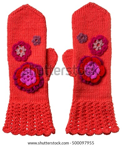 Red Hand Knitted Mittens Pattern Flowers Stock Photo Royalty Free