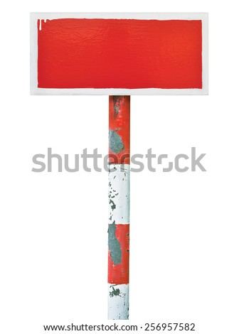 Red hand-painted prohibition warning sign board horizontal metal signage copy space background, old aged weathered isolated blank empty signboard rusted signpost rusty grunge vintage white pole post - stock photo
