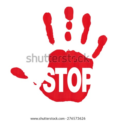 Red hand print showing STOP sign against racism and sexism - stock photo