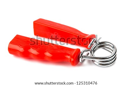 Red hand trainer isolated on white