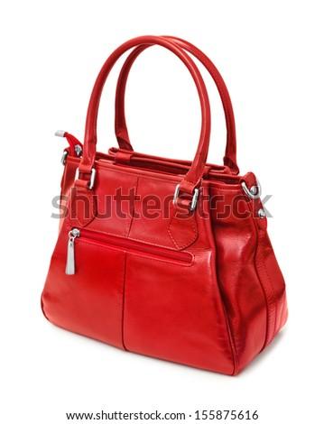 Red handbag isolated on white background - stock photo