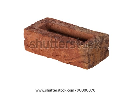Red Handmade Brick Isolated On The White Background