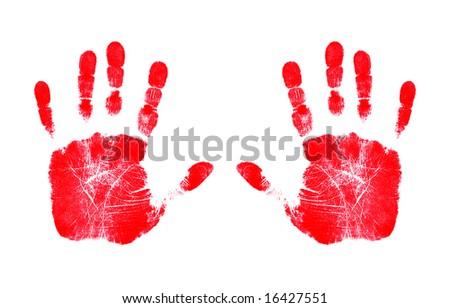 Red Handprints - stock photo