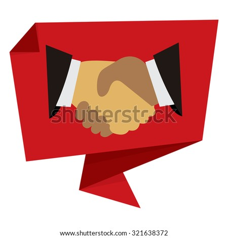 Red Handshake, Hand Holding Paper Origami Speech Bubble or Speech Balloon Infographics Sticker, Label, Sign or Icon Isolated on White Background - stock photo