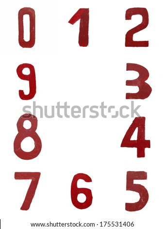 Red handwritten numbers set from 0 to 9 isolated on white - stock photo