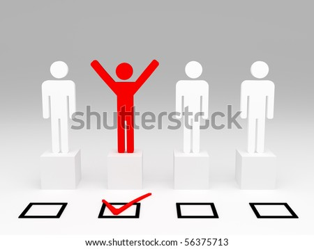 red happy man hand up after selection - stock photo