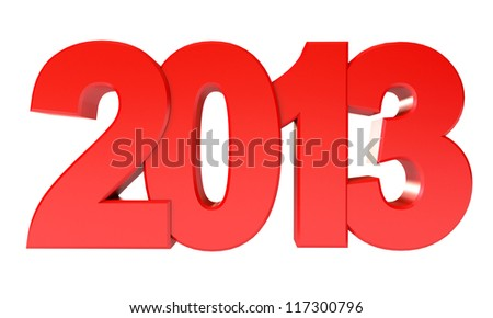 Red Happy New Year 2013. Isolated on white background. 3d render - stock photo