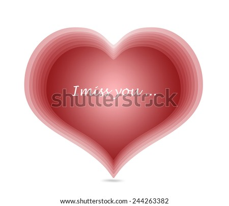 red harts miss you message symbol love card - stock photo