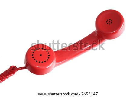 Red head phone on a white background