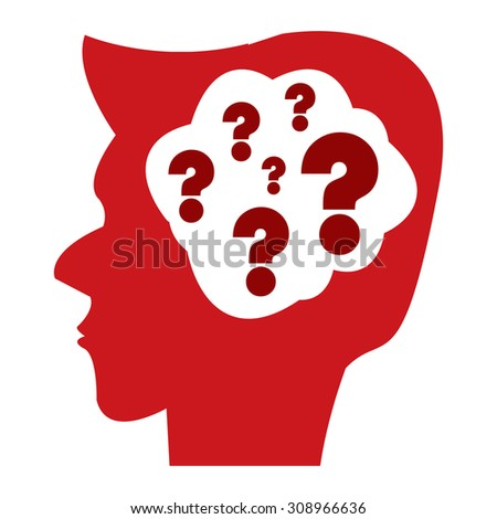 Red Head With Question Mark Brain Infographics Flat Icon, Sign Isolated on White Background