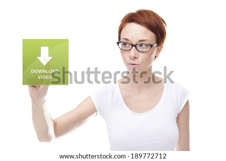 Red head women touching the download video on white background - stock photo
