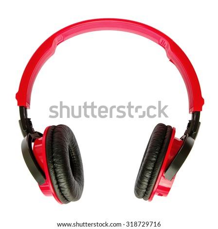 Red headphones isolated on white - stock photo