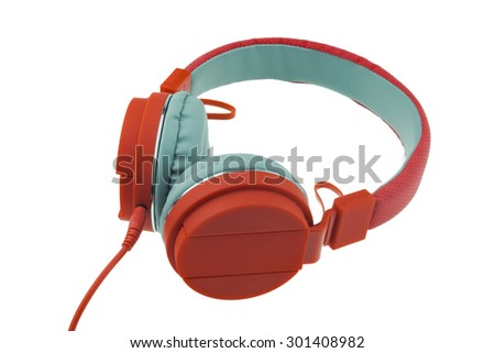 Red headphones on white