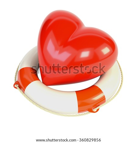 Red heart and a life buoy, isolated on white background. 3d illustration.