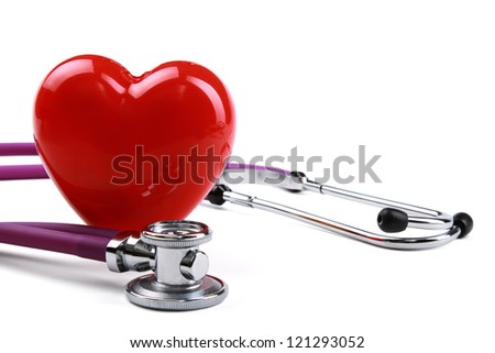 Red heart and a stethoscope, isolated on white background - stock photo