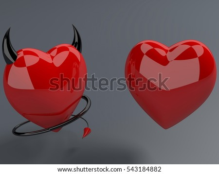 Red heart and devil red hearts with horns and tails.3d illustration.