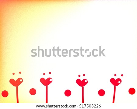 Red heart and red dot design on white and yellow grain background
