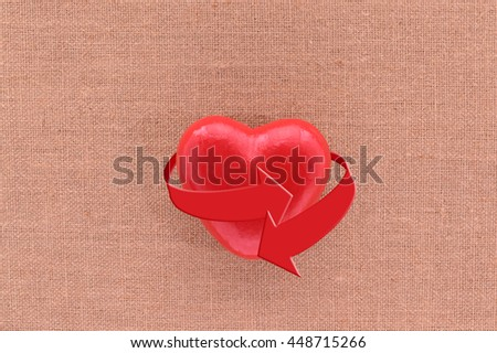 Red Heart Arrow wrapped around hanging on canvas board