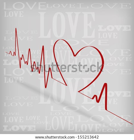 Red Heart Beats Cardiogram on White background - jpg version