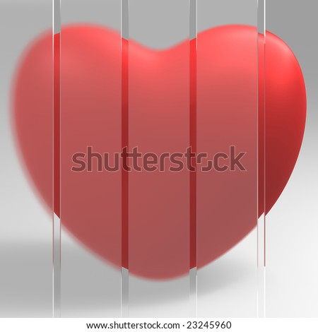 Red heart behind the glass wall - stock photo